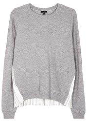 Clu Grey Plisse Back Cotton Sweatshirt