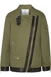 Mcq By Alexander Mcqueen Leather Trimmed Cotton Gabardine Jacket Green