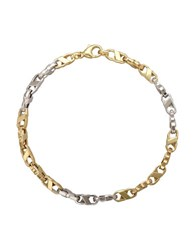 Lord And Taylor 14K Yellow White Gold Mens Bracelet Two Tone