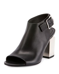 Alexander Wang Nadia Leather Open Toe Bootie Black Silver