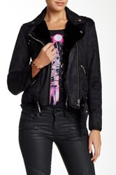 The Kooples Faux Shearling Biker Jacket Black