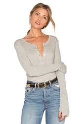 Enza Costa Cashmere Long Sleeve Henley Top Grey