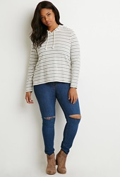 Forever 21 Striped Drawstring Hoodie Cream Navy
