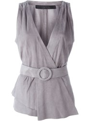 Drome Belted Wrap Waistcoat Grey