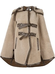 Chloe Shearling Cape Nude And Neutrals