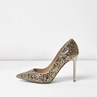 River Island Womens Gold Glitter Wide Fit Court Shoes