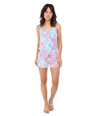 Lilly Pulitzer Tala Romper Bay Blue Pop Pop Women's Jumpsuit And Rompers One Piece