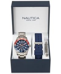 Nautica Men's Interchangeable Navy Silicone Strap And Stainless Steel Bracelet Watch Set 44Mm Nad16503g