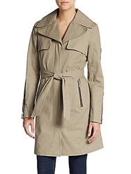 Dawn Levy Lani Zipper Trim Trench Coat Stone