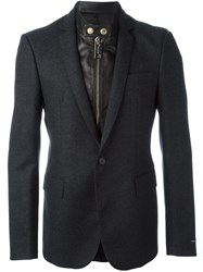 Les Hommes Layered Effect Mixed Media Blazer Black