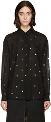 Anthony Vaccarello Black And Silver Star Studded Shirt