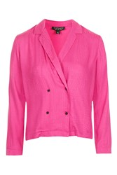 Topshop Double Breasted Jacquard Shirt Bright Pink