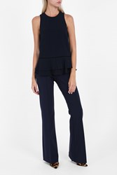 Jonathan Simkhai Women S Puplum Crepe Top Boutique1 Navy