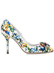 Dolce And Gabbana Embellished Majolica Print Pumps Multicolour