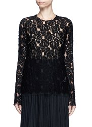 Ms Min Floral Lace Wool Blend Top Black