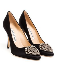 Manolo Blahnik Okkava Satin Pumps Black Almond