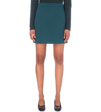 Victoria Beckham Floral Embossed Wool Mini Skirt Alpine Green