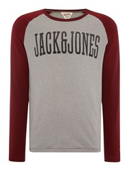 Jack And Jones Track And Field Large Logo Crew Neck Top Red