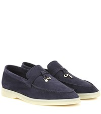 Loro Piana Summer Charms Walk Embellished Suede Loafers Blue
