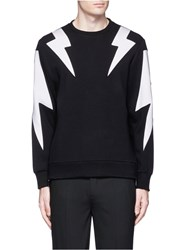 Neil Barrett 'Thunderbolt' Print Zip Side Sweatshirt Black