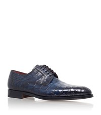 Magnanni Alligator Leather Derby Shoes Male Blue