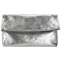 John Lewis Collection Weekend By Mia Leather Clutch Bag Distressed Silver