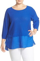 Plus Size Women's Foxcroft Button Back Mixed Media Sweater Periwinkle