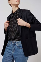 Navy Relaxed Suit Blazer By Boutique Navy Blue