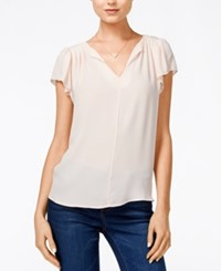 Maison Jules Flutter Sleeve Woven Top Only At Macy's Pearl Blush
