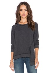 Michael Stars Front Slit Crew Neck Sweater Charcoal
