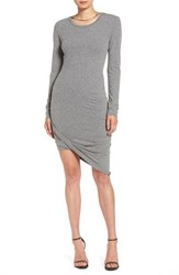 Pam And Gela Women's Asymmetrical Hem T Shirt Dress Heather Grey