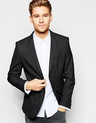Selected Homme Mini Check Suit Jacket In Skinny Fit Black