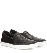 Burberry Gauden Cut Out Leather And Suede Slip On Sneakers Black