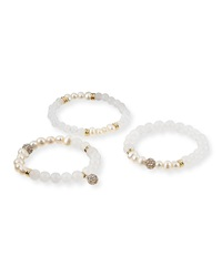 Set Of 3 Pearlescent Bracelets White Sequin