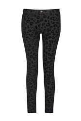 French Connection Snow Leopard Flock Skinny Jeans Black