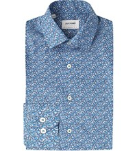 Duchamp Rose Print Tailored Fit Cotton Shirt Blue