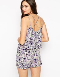 Warehouse Fluro Pansy Cami Playsuit With Strappy Back Multi