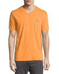 Psycho Bunny V Neck Logo Tee Mango Orange
