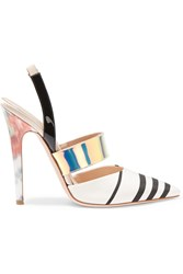 Giambattista Valli Riga Striped Faille And Patent Leather Slingback Pumps White