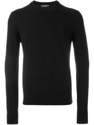 Dolce And Gabbana Embroidered Crown Jumper Black