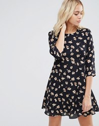 Goldie Hazy Days Floral Printed Tea Dress Blue
