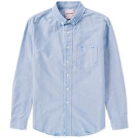Palm Angels Ripped Oxford Shirt Blue