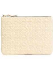 Comme Des Garcons Wallet Embossed Zip Clutch