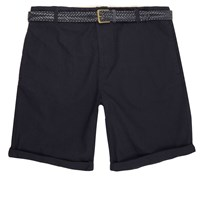 River Island Mens Navy Belted Oxford Shorts