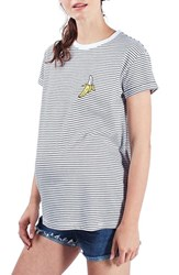 Topshop Women's By Tee And Cake Stripe Embroidered Banana Maternity Tee