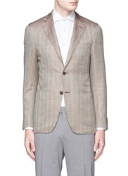 Canali 'Kei' Wool Silk Linen Herringbone Blazer Brown