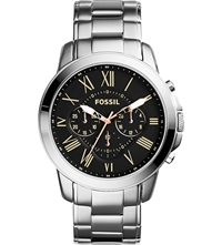 Fossil Fs4994 Stainless Steel Grant Chronograph Watch Black