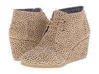 Toms Desert Wedge Cheetah Suede Printed Women's Wedge Shoes Animal Print