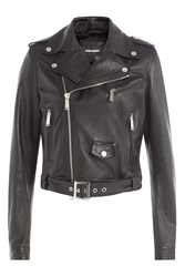 Dsquared2 Leather Biker Jacket Black