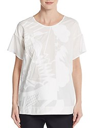 Piazza Sempione Embellished Geo Print Cotton Tee White Print
